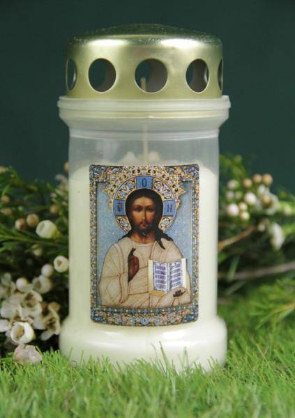 Grablicht Nr. 3 mit Deckel, Motiv: Jesus