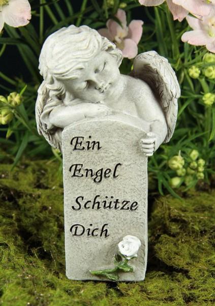 """Grabengel mit Stein """"Ein Engel schütze Dich"""""""