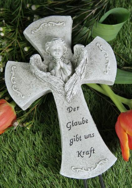 """Grabkreuz Engel """"Der Glaube gibt uns Kraft"""""""