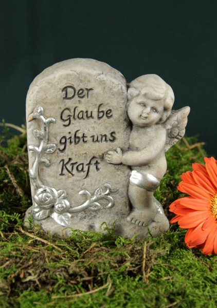 """Engel mit Grabstein """"Der Glaube gibt uns Kraft"""""""