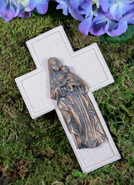 Grabkreuz mit Engel, H: 16 cm, B: 10 cm