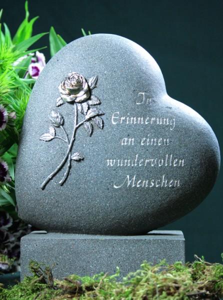 Grabherz mit Rose, In Erinnerung an..., anthrazit