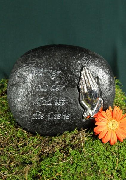 """Grabstein mit betenden Händen """"Stärker als der Tod ist..   Grabschmuck"""
