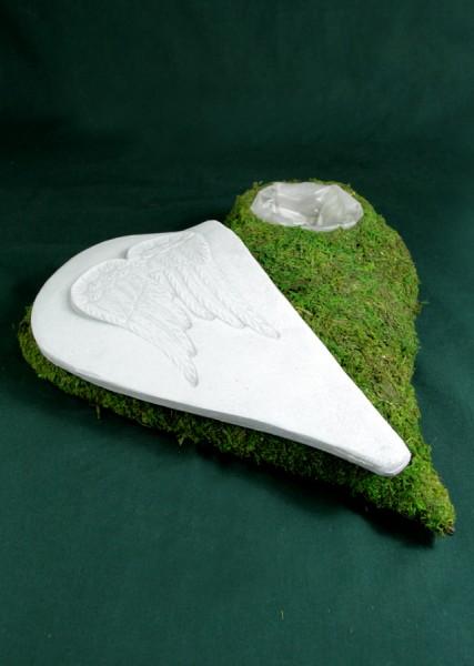 Pflanzschale Moosherz mit Keramik