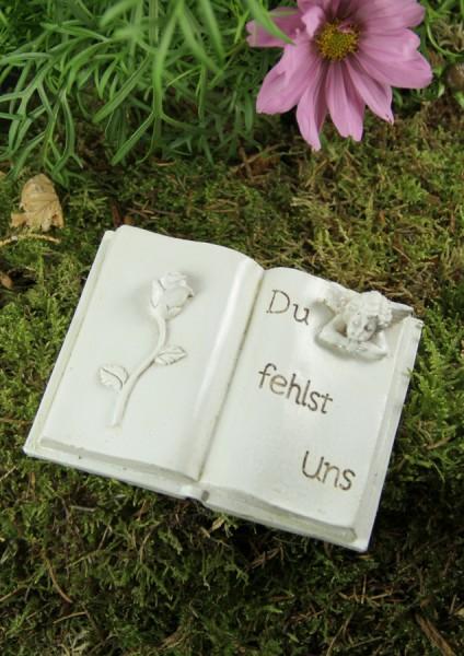 """Grabbuch mit Engel und Rose """"Du fehlst uns"""""""