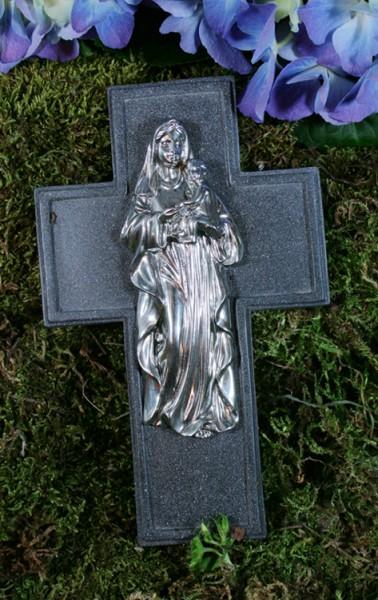 Grabkreuz mit Engel, Resin, H: 16 cm, B: 10 cm