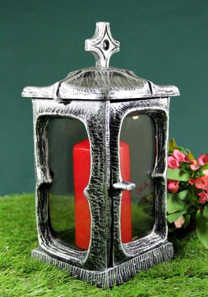 Grablaterne Grablicht mit Deckel, aluminiumfarben