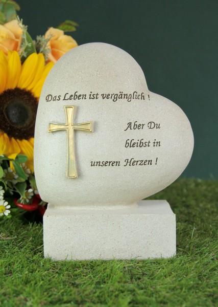 """Grabherz mit Kreuz """"Das Leben ist vergänglich..."""""""