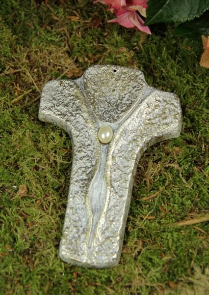 Kreuz, Grabkreuz mit Perle aus massivem Metallguss