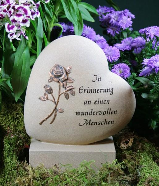 "Grabherz, Basis mit Rose ""In Erinnerung an..."", Resin"