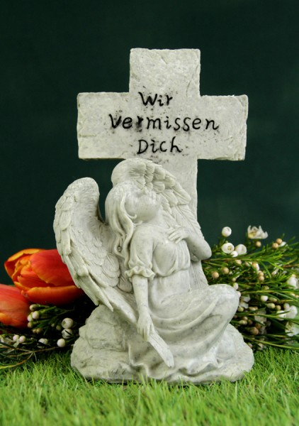 """Grabkreuz mit Engel """"Wir vermissen Dich"""""""