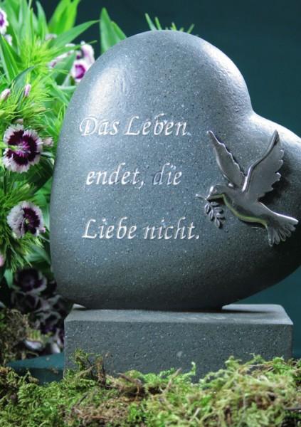 Grabherz mit Taube, Das Leben endet..., anthrazit