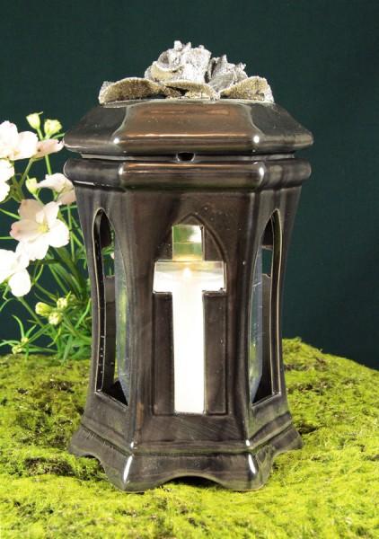 Grablichthalter Keramik, Kreuz