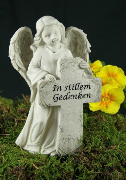 """Grabengel mit Kreuz, """"In stillem Gedenken"""""""