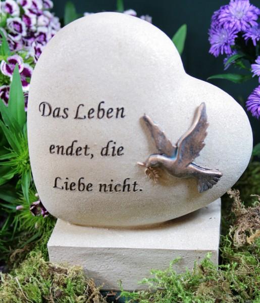 "GrabHerz, Basis/Taube ""Das Leben endet..."", Resin"